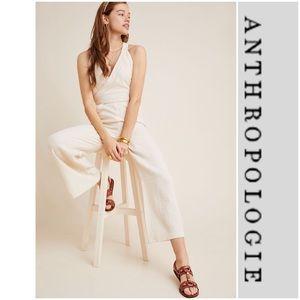 Anthropologie Demi Textured Jumpsuit Romper Ivory